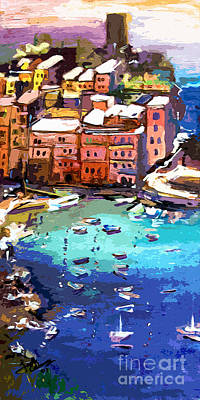 Painting - Vernazza Italy Cinque Terre Seaside  by Ginette Callaway