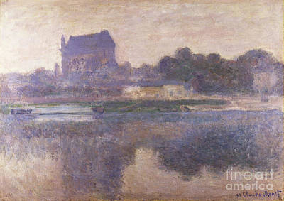 Boats In Reflecting Water Painting - Vernon Church In Fog by Claude Monet