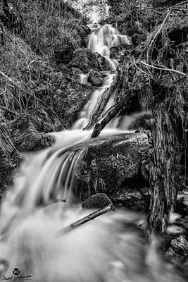 Vertical Falls Bw Art Print by Mitch Johanson