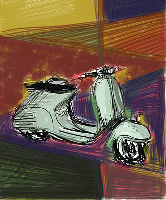 Mixed Media - Vespa In Cubist Land by Russell Pierce