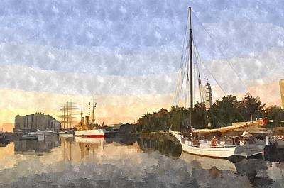 Digital Art - Vessels Of Penns Landing by Andrew Dinh