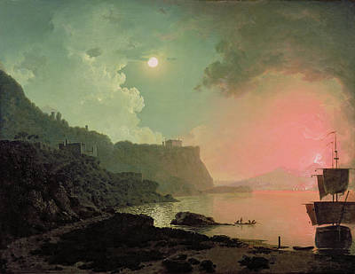 Ocean At Sunset Painting - Vesuvius From Posillipo by Joseph Wright of Derby