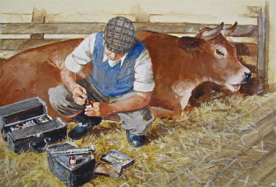 Painting - Veteranarian And Cow by Cliff Spohn