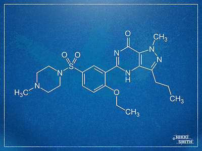 Molecule Digital Art - Viagra Molecular Structure Blueprint by Nikki Marie Smith