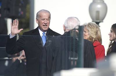 Biden Photograph - Vice President Joe Biden Takes The Oath by Everett