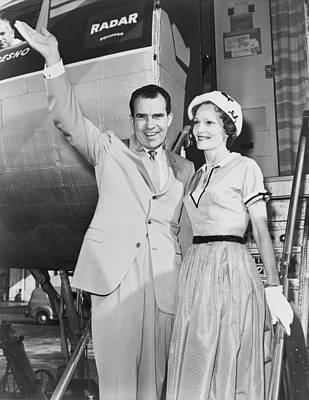 1950s Fashion Photograph - Vice President Richard Nixon, With Wife by Everett