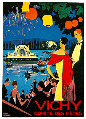 Fireworks Painting - Vichy Comite Des Fetes by Roger Broders