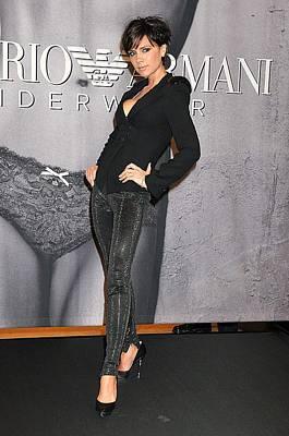 Victoria Beckham Wearing An Emporio Art Print