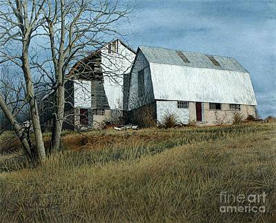 Painting - Victoria County Road Barn by Robert Hinves