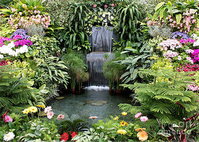 Victorian Garden Waterfall - Digital Art Art Print by Carol Groenen