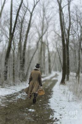 Victorian Gentleman Walking Through Woods Art Print by Jill Battaglia