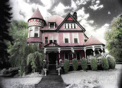 Victorian Mansion Heather House-hand Colored Infrared Photo Print by Kathy Fornal
