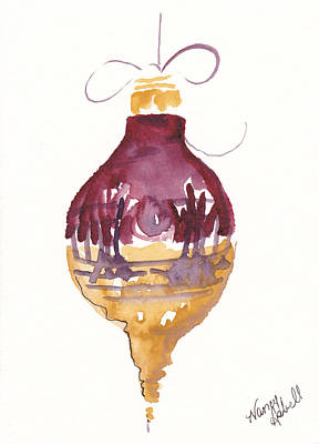 Victorian Watercolor Ornament Original by Michele Hollister - for Nancy Asbell