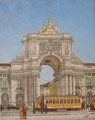 Victory Ach Lisbon - Arco Da Vitoria Lisboa Art Print by Carlos De Vasconcelos Tavares