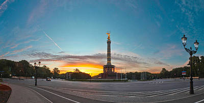 Prussian Blue Photograph - Victory Column Berlin by Greta Schmidt