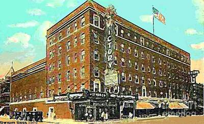 Painting - Victory Theatre And Hotel Sonntag In Evansville In 1920 by Dwight Goss