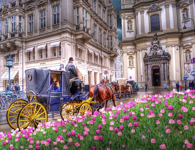 Vienna Fiaker Peterskirche Tulips Print by Juli Scalzi