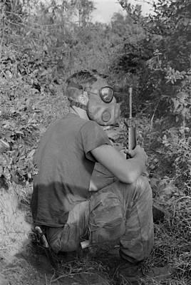 Vietnam War. Us Marine Wearing Gas Mask Print by Everett
