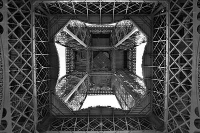 Jeka World Photograph - View From Beneath The Eiffel Tower In Black And White Paris France by Jeff Rose