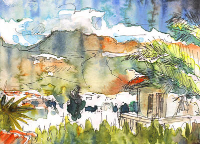 Impressionism Drawings - View from My Balcony in El Albir by Miki De Goodaboom