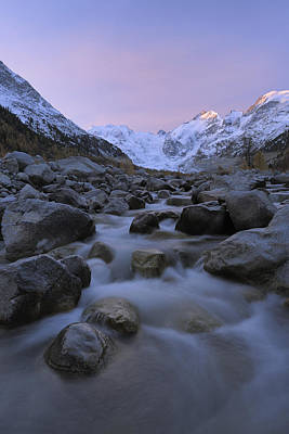 Graubunden Photograph - View From Val Morteratsch To Morteratsch Glacier, Piz Morteratsch, Piz Bernina, Engadin, St Moritz, Graubunden, Switzerland by Martin Ruegner