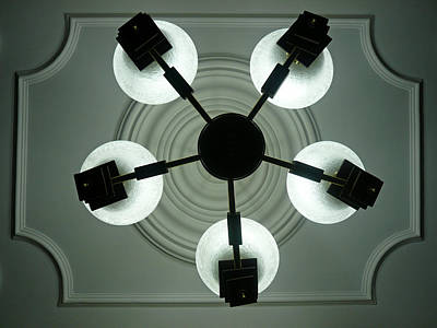 View Of 5 Bulb Chandelier Against A Decorated Ceiling From Underneath Art Print