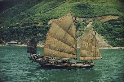 Junk Boat Photograph - View Of A Chinese Fishing Junk by J Baylor Roberts