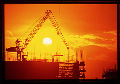 View Of A Construction Site At Sunset Art Print by Jeremy Walker
