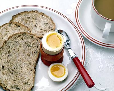 Cup Of Tea Photograph - View Of A Healthy Breakfast Of Egg, Bread And Tea by Erika Craddock