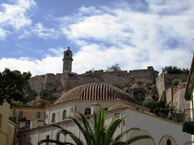 Photograph - View Of An Ancient Walled Bell Tower On The Hillside And Dome In Nafplion In Greece  by John Shiron