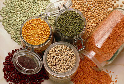 Black Eyed Peas Photograph - View Of An Assortment Of Beans And Pulses by Erika Craddock