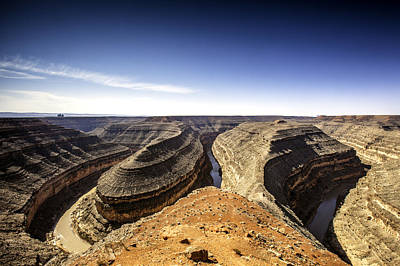 Goosenecks State Park Photograph - View Of Canyon And Winding River by Bob Stefko