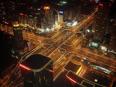Beijing Photograph - View Of Cityscape At Night by Philip M Walker