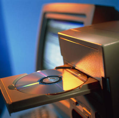 Compact Disc Photograph - View Of Computer Compact Disc In A Drive by Tek Image