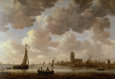 Boats In Water Painting - View Of Dordrecht Downstream From The Grote Kerk by Jan Josephsz van Goyen