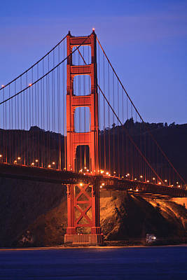 View Of Golden Gate Bridge At Dusk San Print by Stuart Westmorland