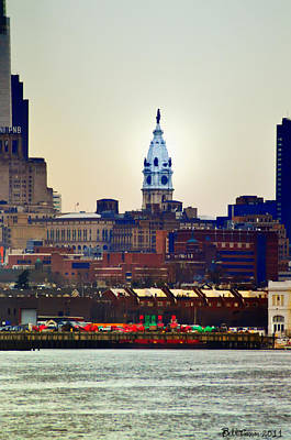 City Hall Digital Art - View Of Philadelphia City Hall From Camden by Bill Cannon