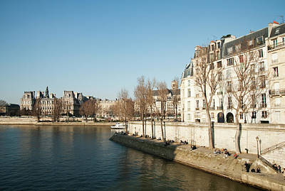 Bare Trees Photograph - View Of Seine River, Paris by Carlo A