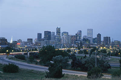 View Of The Denver Skyline At Twilight Print by Richard Nowitz