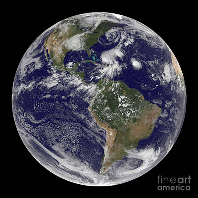 View Of The Full Earth And Four Storm Art Print