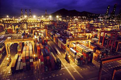 Importers And Importing Photograph - View Of The Hong Kong Cargo Terminal by Justin Guariglia