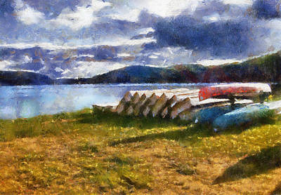 Art Print featuring the painting View Of The Lake From Camp Dorset by Mario Carini