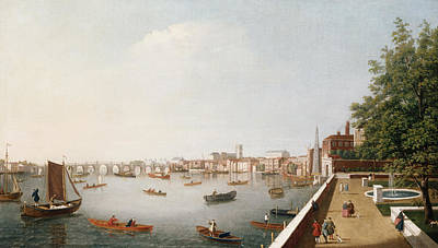 London Painting - View Of The River Thames From The Adelphi Terrace  by William James