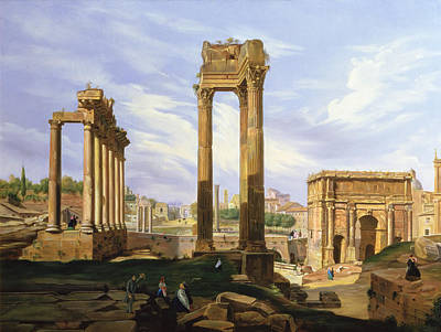 View Of The Roman Forum Art Print by Jodocus Sebasiaen Adeele