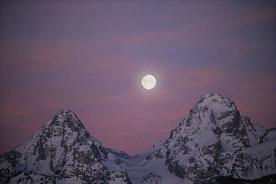 View Of The Setting Moon Over Grand Art Print by Jimmy Chin