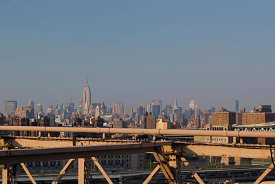 View Over New York City From Brooklyn Bridge Art Print by Thepurpledoor