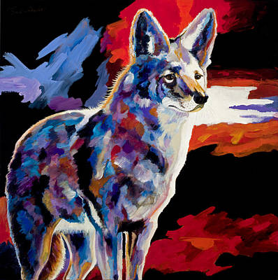 Abstract Coyote Painting - Vigilant by Bob Coonts