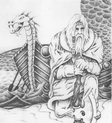 Viking Ships Drawing - Viking  by Mike Distel