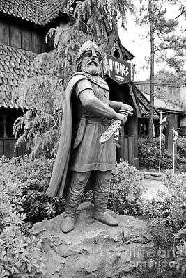 Photograph - Viking Statue Norway Pavilion Epcot Walt Disney World Prints Black And White by Shawn O'Brien