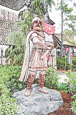 Digital Art - Viking Statue Norway Pavilion Epcot Walt Disney World Prints Colored Pencil by Shawn O'Brien